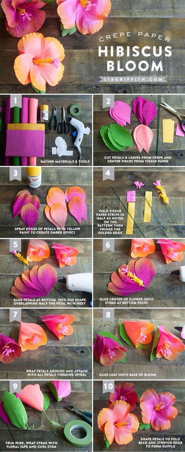 photo collage of step by step diy tutorial, paper flower decorations, how to make hibiscus bloom out of crepe paper