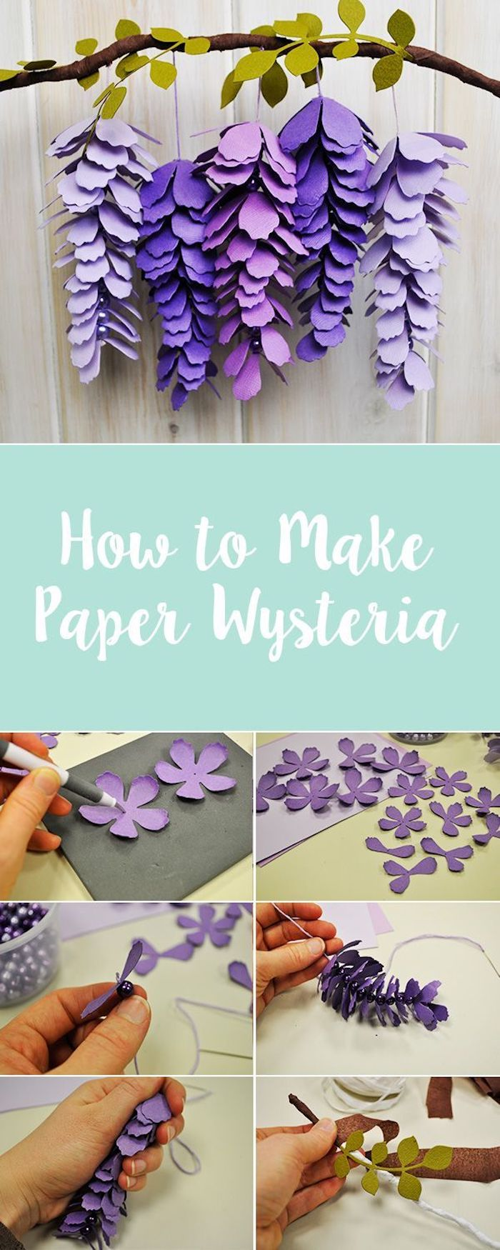how to make paper wysteria, paper flower decorations, photo collage of step by step diy tutorial