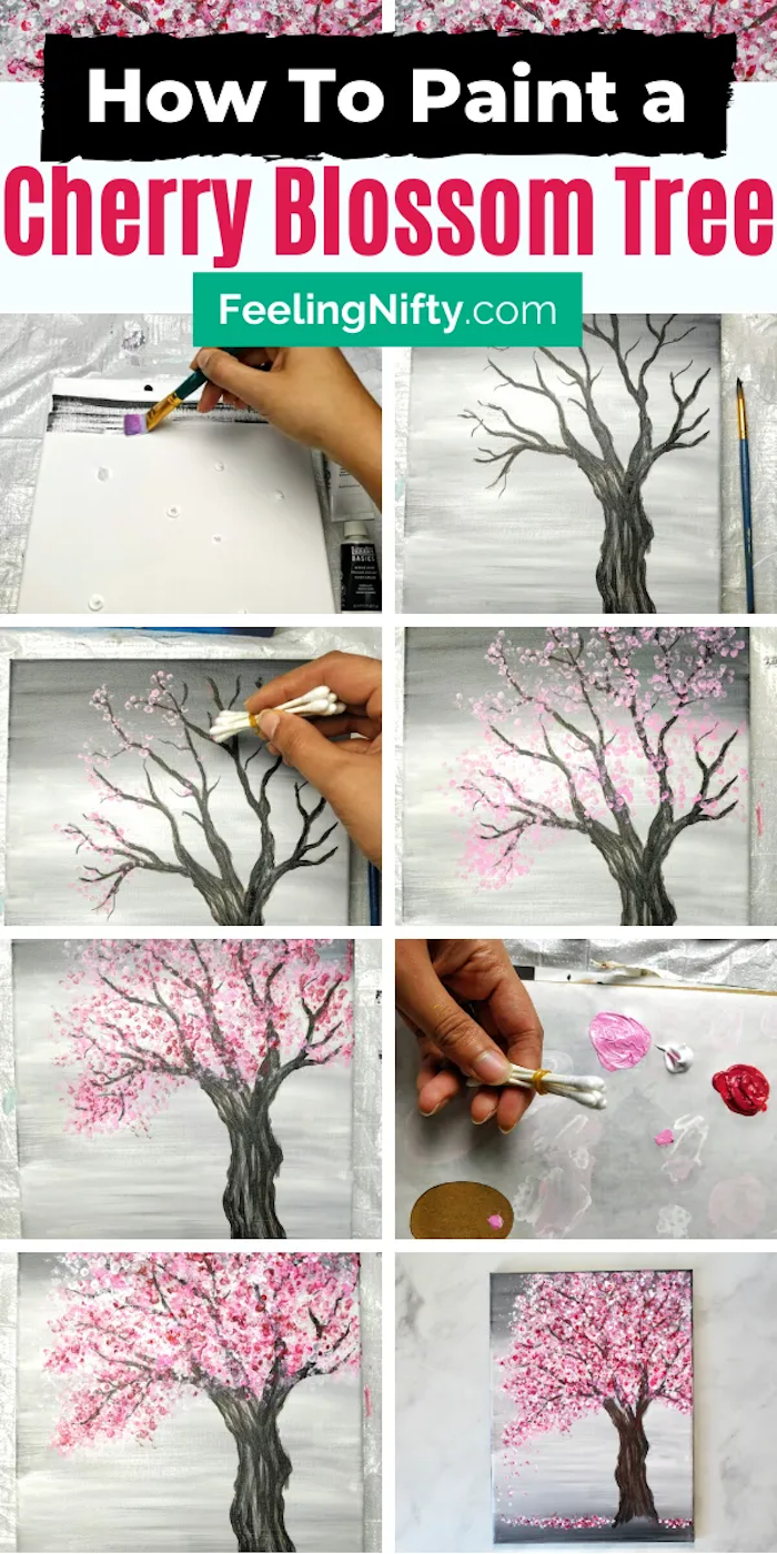 how to paint a cherry blossom tree, acrylic painting techniques, photo collage of step by step diy tutorial