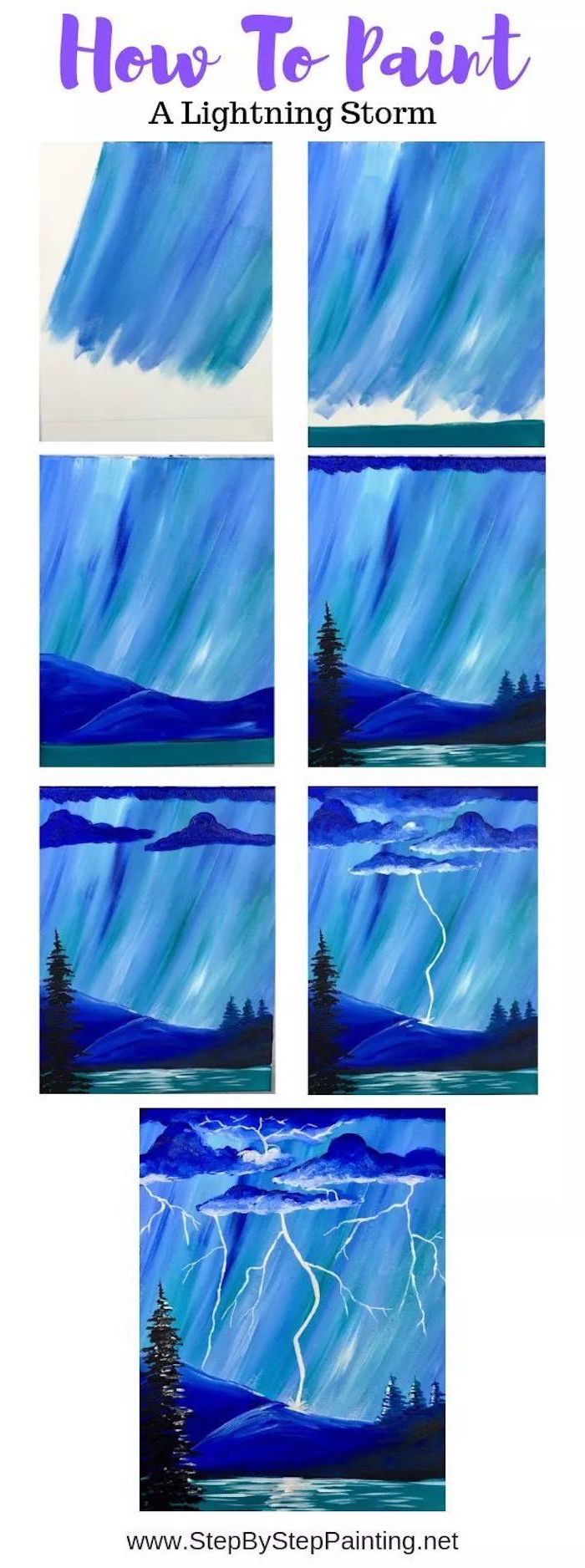acrylic painting techniques, how to paint a lightning storm, photo collage of step by step diy tutorial, step by step acrylic painting tutorial