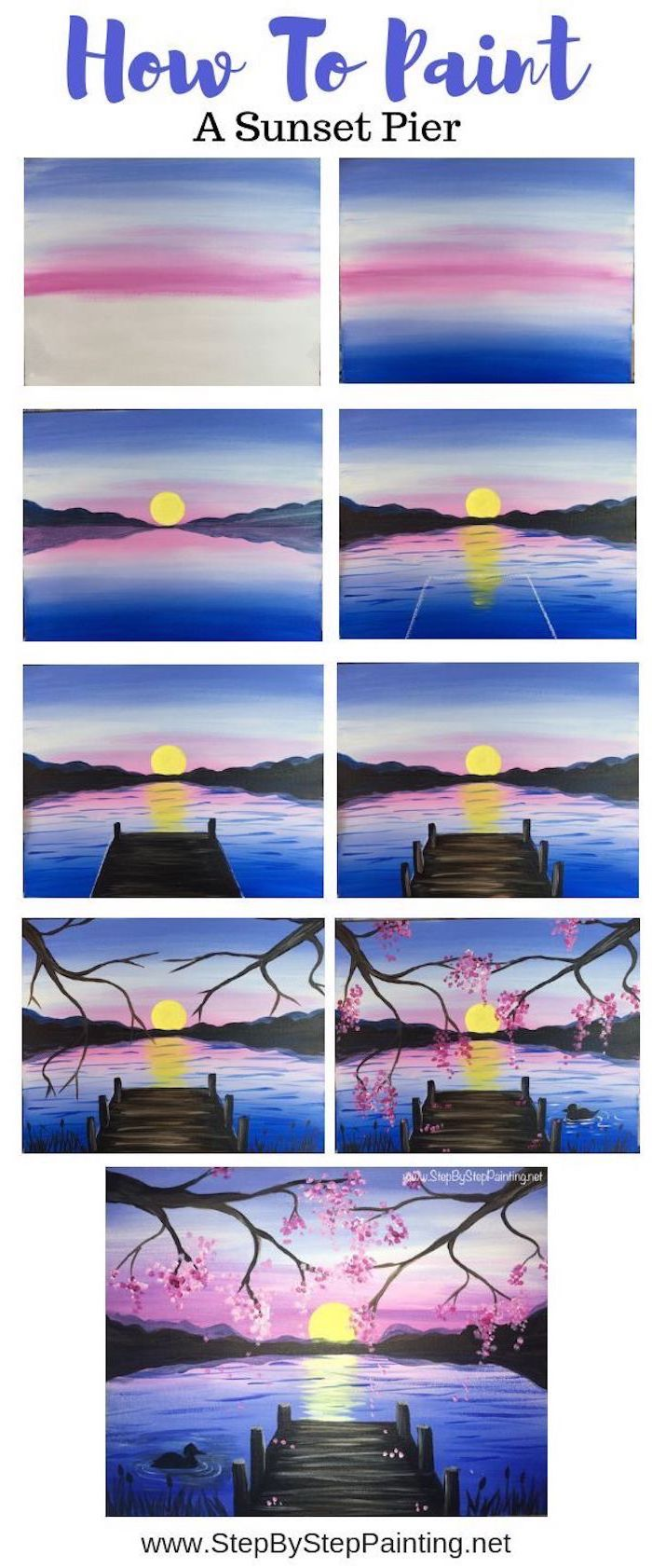 how to paint a sunset pier, photo collage of step by step diy tutorial, acrylic painting techniques
