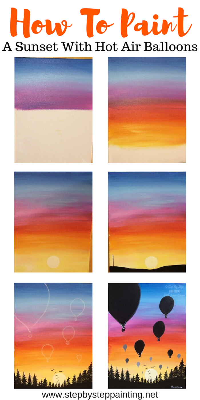 photo collage of step by step diy tutorial, acrylic painting techniques, how to paint a sunset with hot air balloons