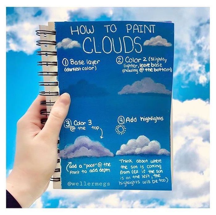 how to paint clouds, explained step by step on a notebook, easy acrylic painting ideas, sky with clouds in the background