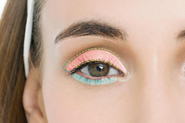 how to put on eyeshadow, step by step diy tutorial, blue eyeshadow, woman with green eyes, thick dark eyebrows