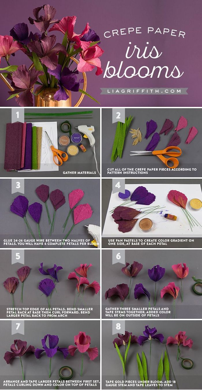 paper flower wall decor, photo collage of step by step diy tutorial, how to make iris blooms out of crepe paper