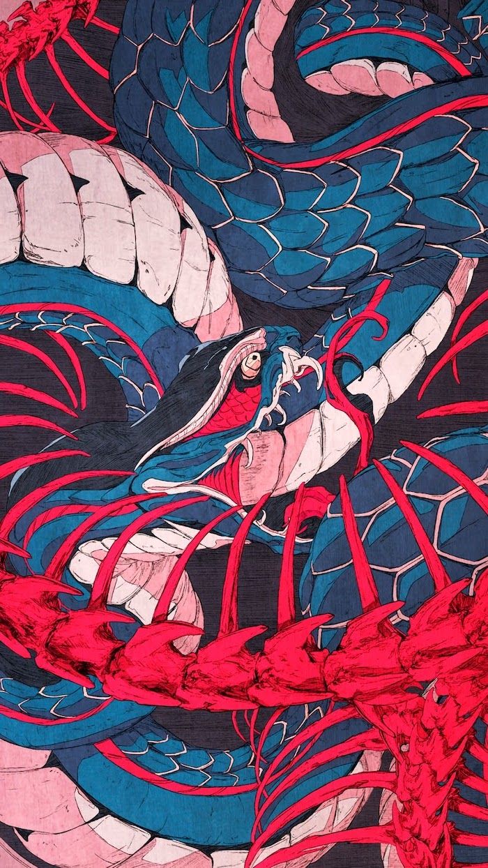 ouroboros snake, cute aesthetic backgrounds, drawing of snake or japanese dragon, painted in blue and red