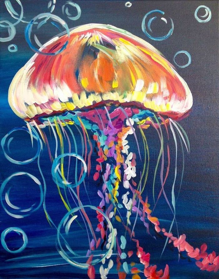 jellyfish painted with different colors, dark blue and black background, easy acrylic painting ideas, water bubbles around it