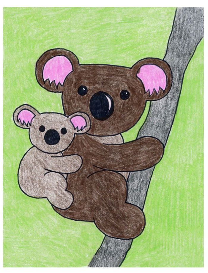 koala and baby koala hanging on tree branch, drawing colored with crayons, easy drawing tutorials