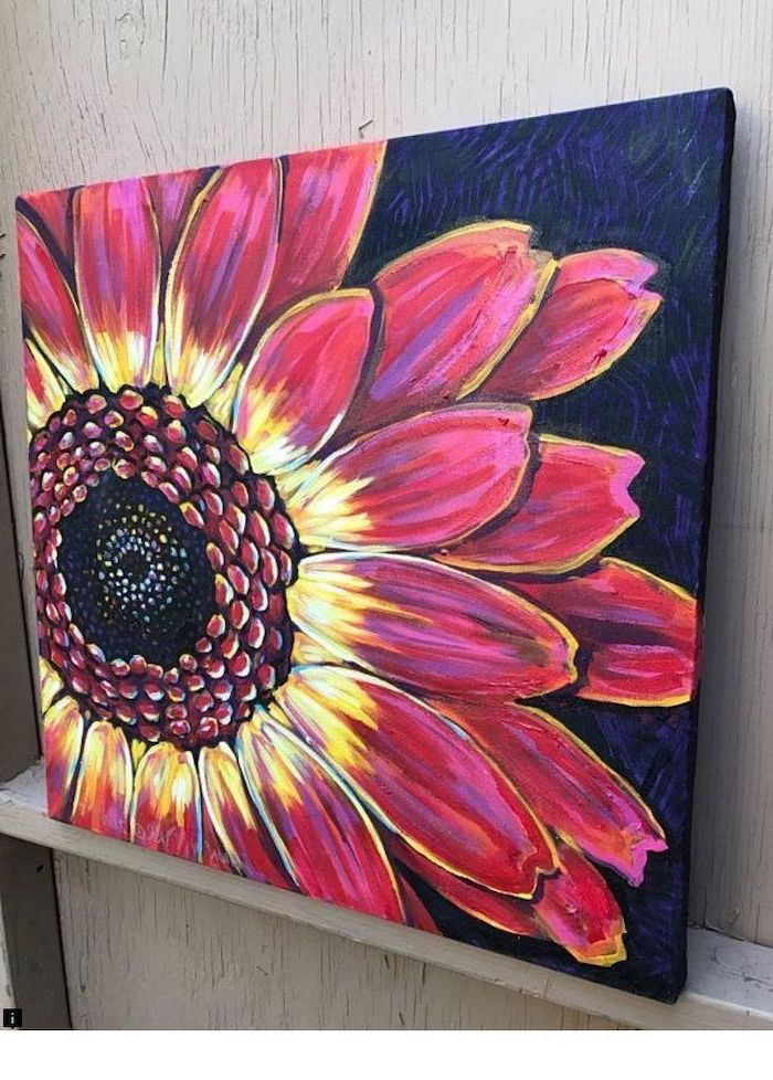 large flower with pink and yellow blooms, easy acrylic painting ideas, dark blue and purple background