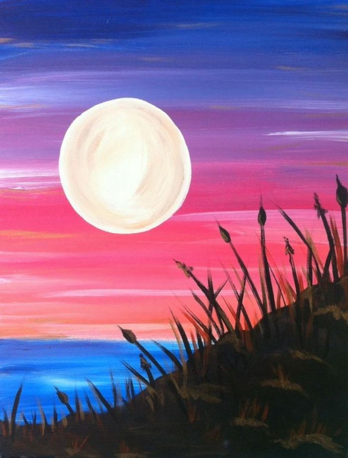 large moon over the ocean, sunset sky in blue pink and purple, easy acrylic painting ideas, weed on the coast line