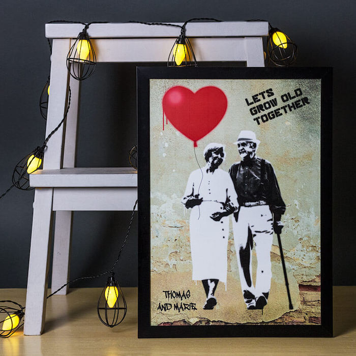 let's grow old together poster, banksy style with black wooden frame, best valentines gifts for her, leaning on white ladder with lights