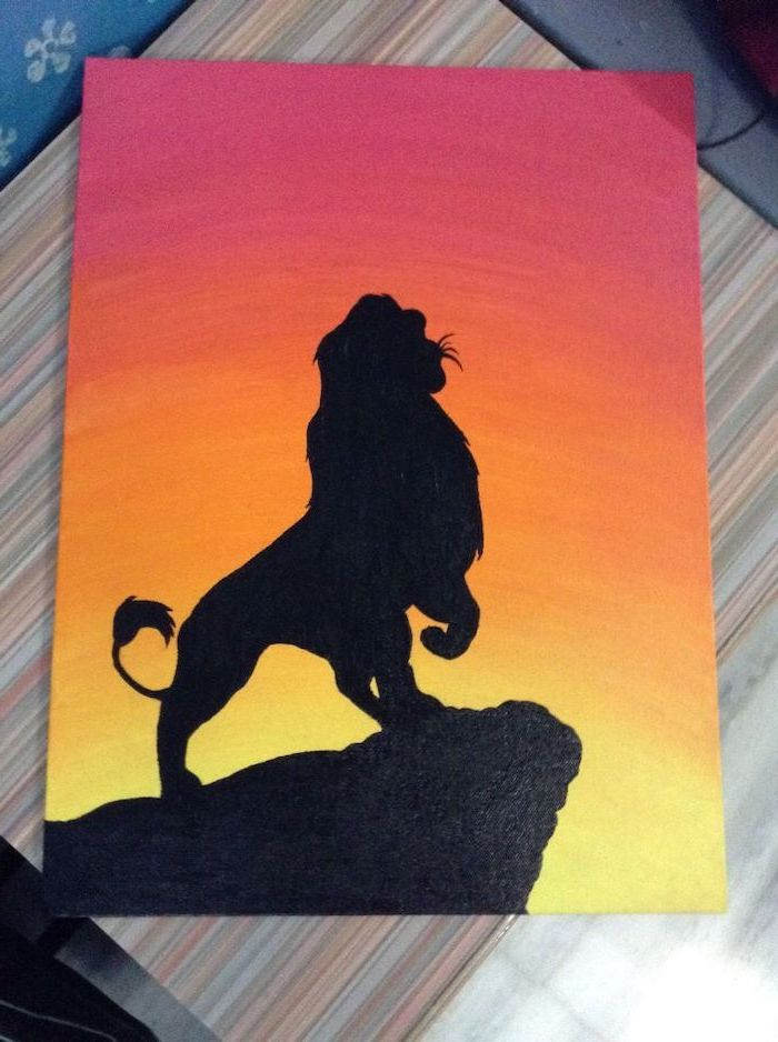 what should i paint, lion king silhouette, standing on the rock, sunset sky in red orange and yellow