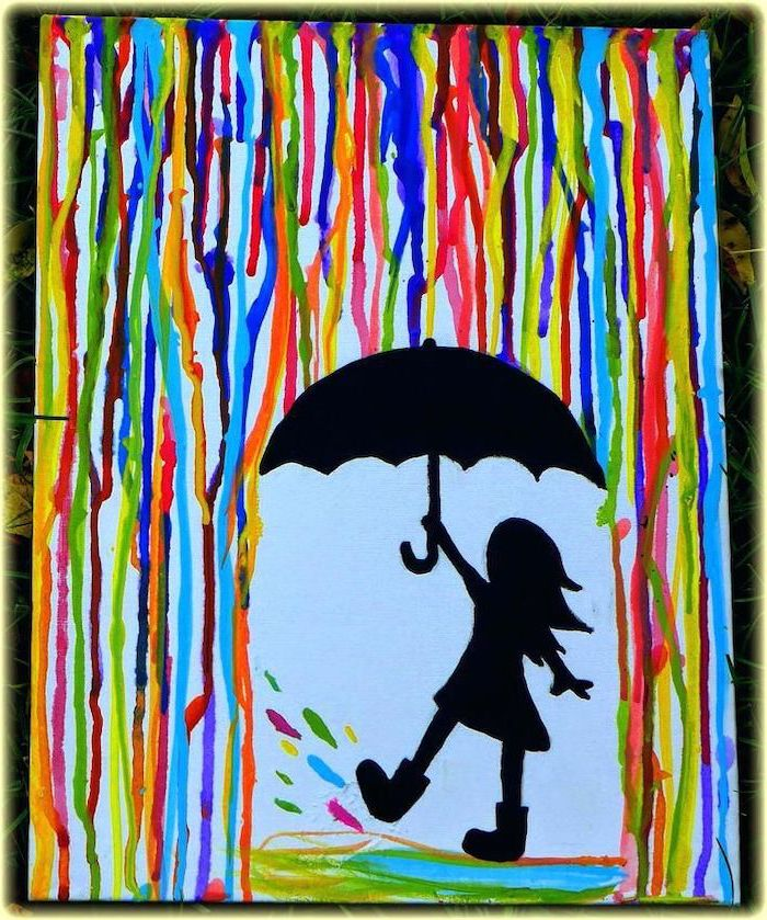 little girl carrying an umbrella, what should i paint, rain painted in different colors, white background