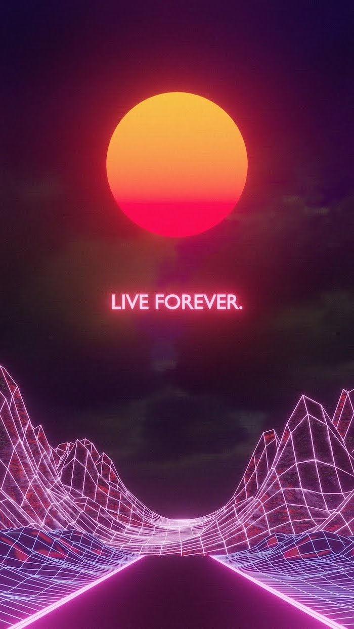 live forever neon sign animated sun in the middle vintage aesthetic wallpaper futuristic background