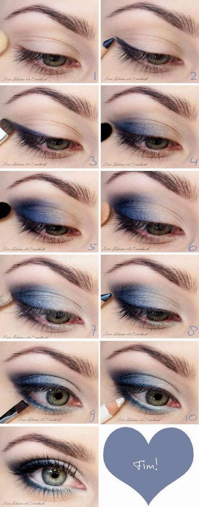 step by step diy tutorial, nude and blue eyeshadow colors, white eyeliner, how to do eyeshadow