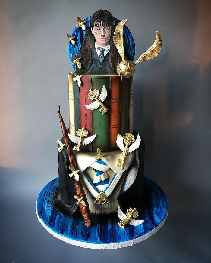 moaning myrtle topper, ravenclaw three tier cake, 11th birthday cake, ravenclaw uniform, golden snitch and keys