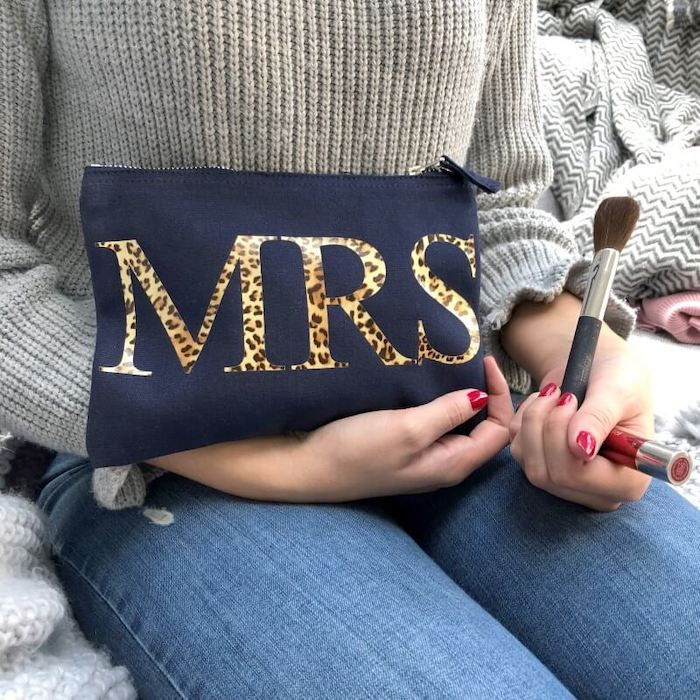 blue make up pouch, personalised with leopard print mrs, written across it, cute valentines day gifts for her