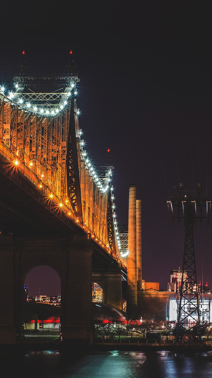queensboro bridge in new york city, photographed at night, tumblr aesthetic backgrounds, city skyline in the background, aesthetic wallpapers for phone