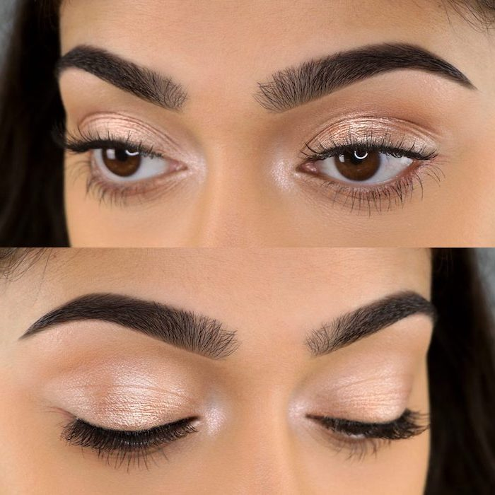 two photos of woman with brown eyes, thick dark eyebrows, how to do makeup, nude eyeshadow color