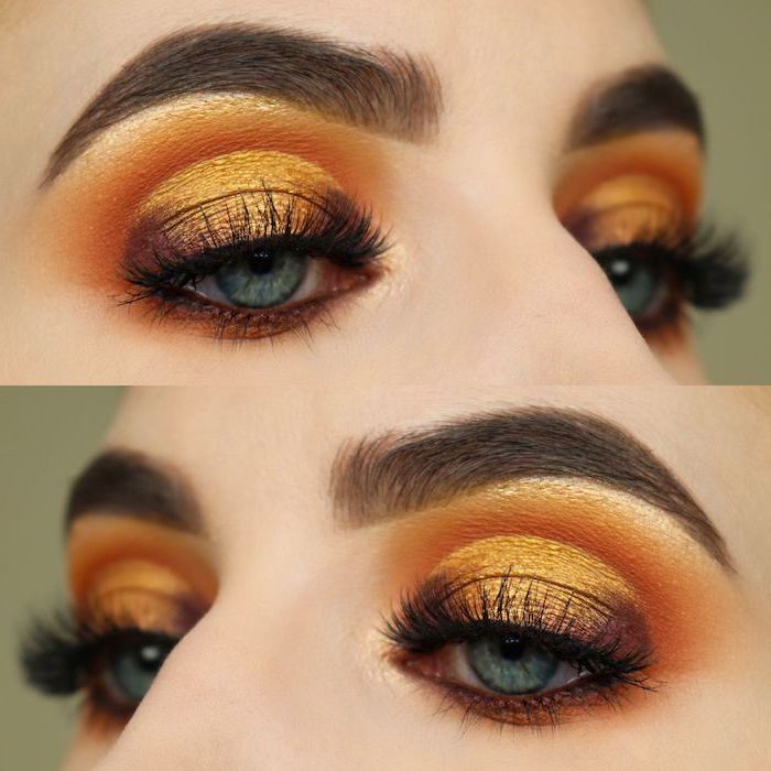 orange and yellow golden eyeshadow colors, how to do makeup, woman with blue eyes, thick dark eyebrows