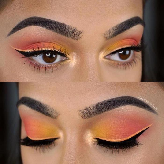 orange and pink eyeshadow colors, black cat eyeliner, on woman with brown eyes, dark thick eyebrows, how to do makeup