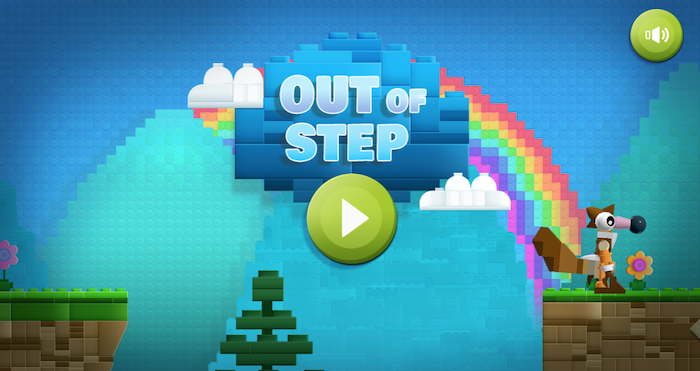 out of step, lego building game, children's games, video game start page