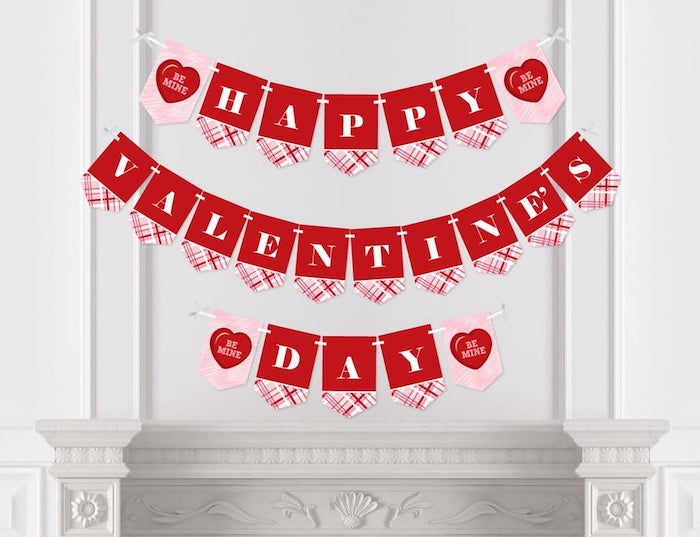 red and pink happy valentine's day banner, valentine lights, hanging on white wall, over white mantel