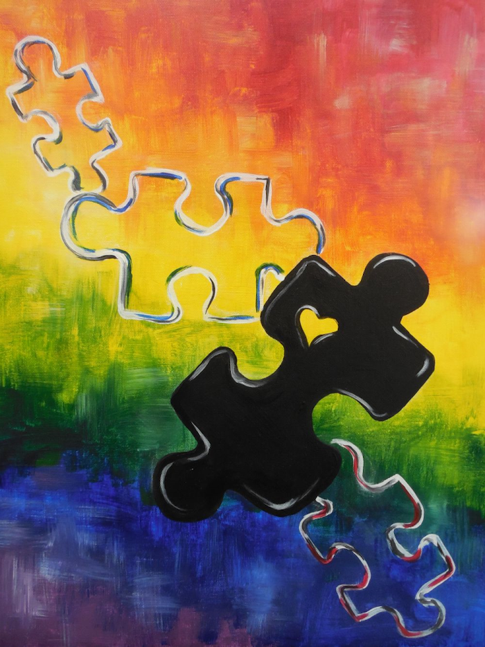 jigsaw puzzle pieces, background painted in colors of the rainbow, what should i paint, red orange yellow green blue and purple