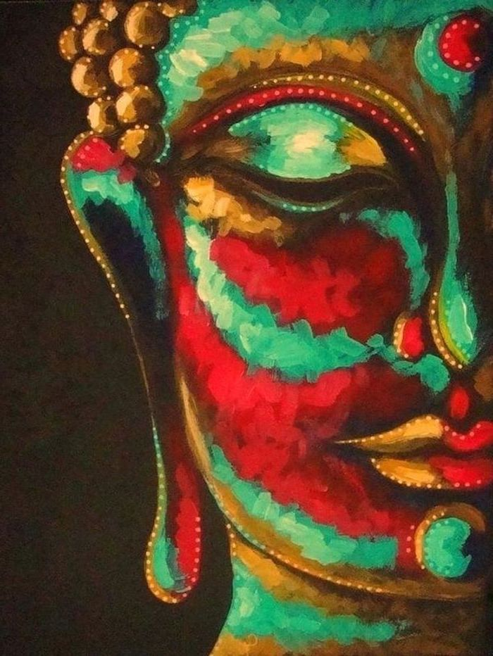 close up of buddha's face, painted in gold red and turquoise colors, what should i paint, black background