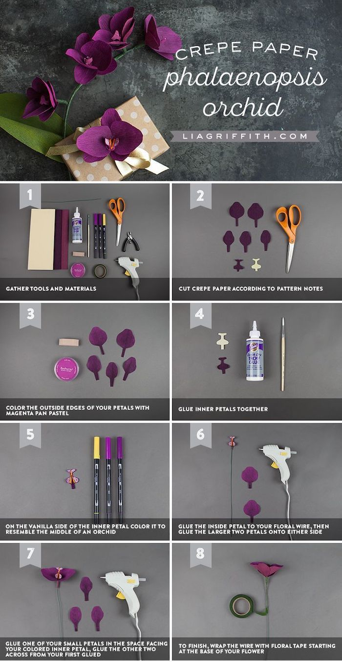 photo collage of step by step diy tutorial, how to make flowers out of tissue paper, how to make and orchid out of crepe paper
