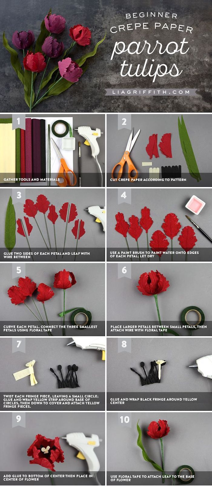 how to make tulips out of crepe paper, how to make paper flowers easy, photo collage of step by step diy tutorial