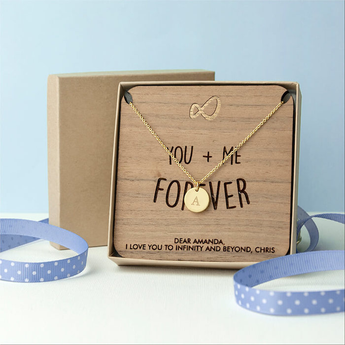 small wooden board with you and me forever, written on it, romantic valentines gifts for her, personalised golden necklace