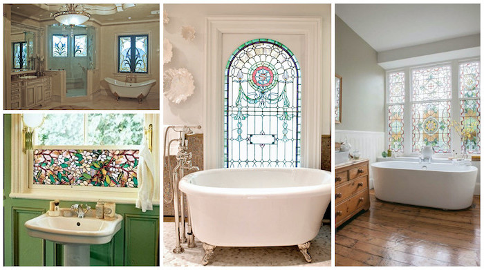 photo collage of four photos of bathrooms, large windows decorated, antique stained glass windows