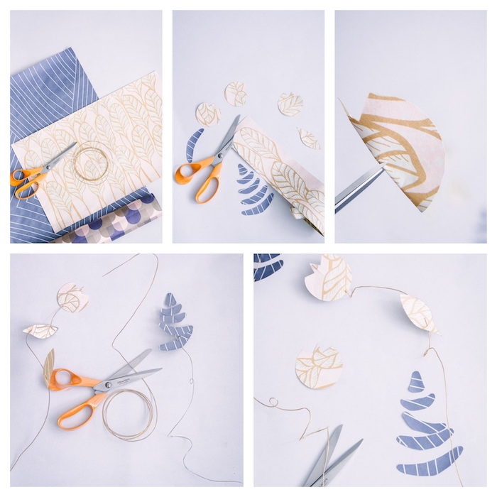 photo collage of a step by step diy tutorial, diy paper flowers, paper flowers threaded with a wire