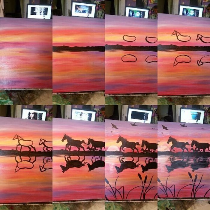 photo collage of step by step diy tutorial, abstract painting ideas, horses running along the sea, sunset sky with birds, how to paint the sea in acrylics