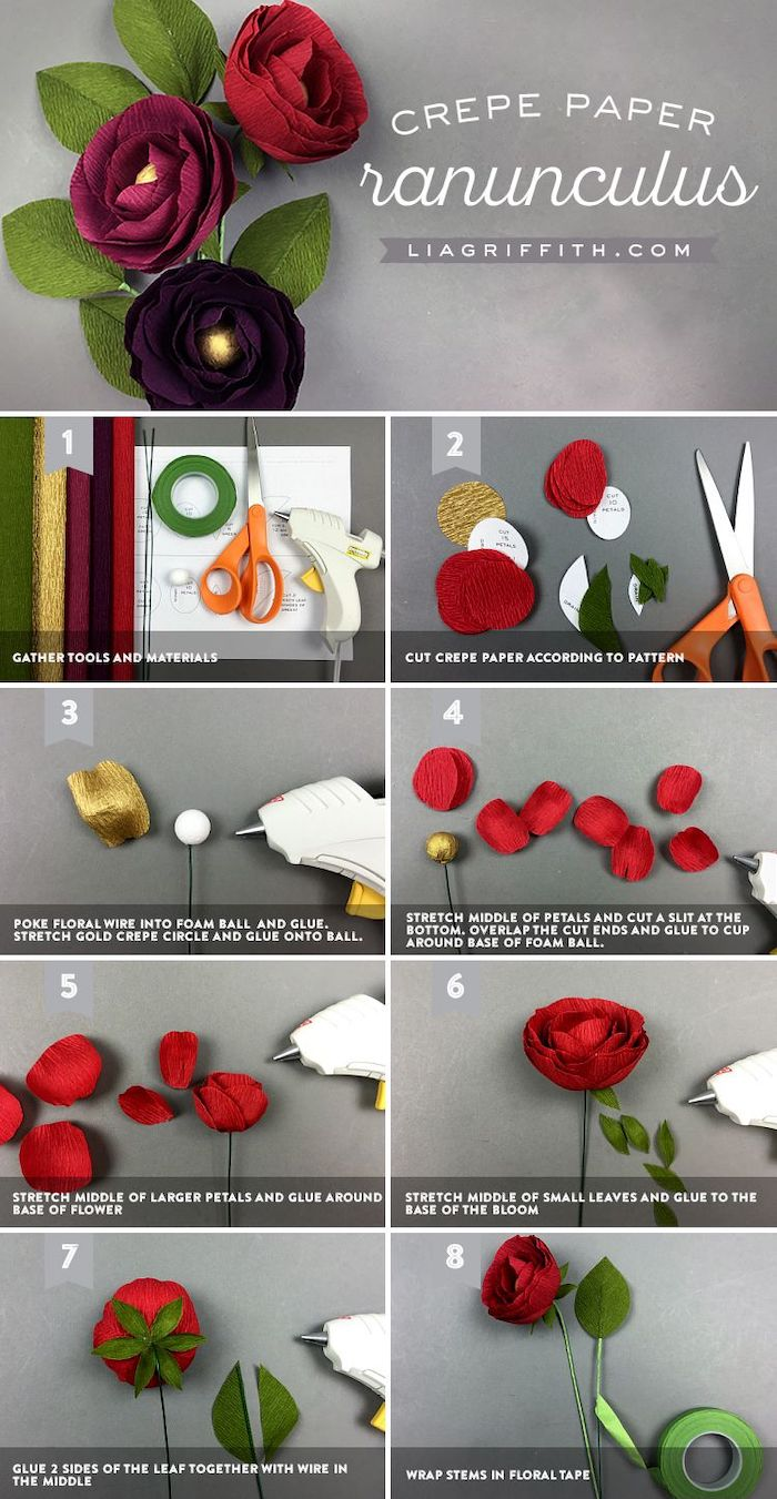 how to make a ranunculus flower out of crepe paper, photo collage of step by step diy tutorial, how to make paper flowers easy
