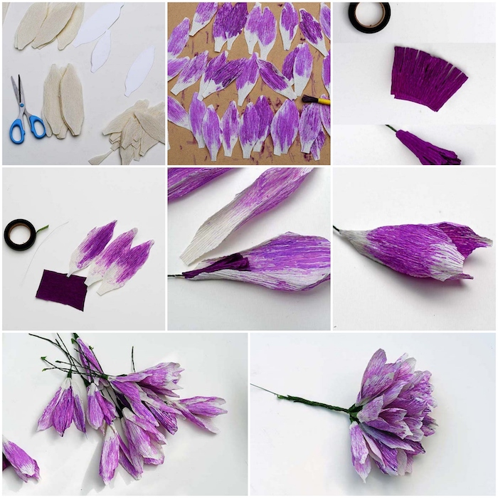 photo collage of a step by step diy tutorial, how to make paper flowers, purple flowers made out of crepe paper