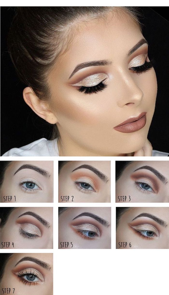 step by step diy tutorial, silver white eyeshadow colors, long black lashes, how to put on eyeshadow, nude lipstick