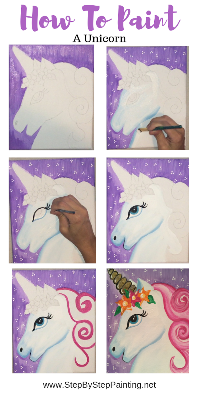 how to paint a unicorn, photo collage of step by step diy tutorial, abstract painting ideas