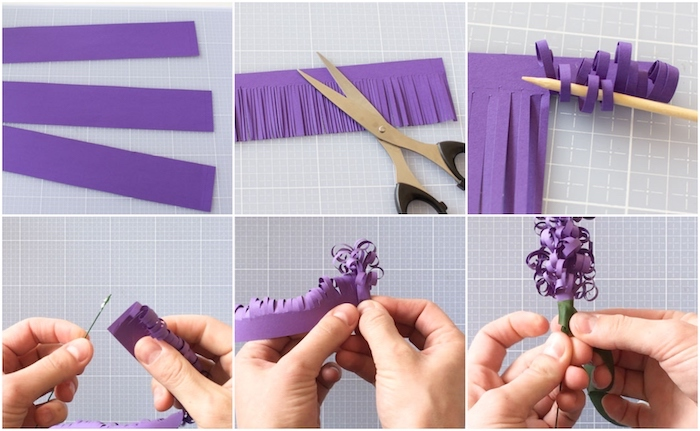 how to make paper flowers, photo collage of a step by step diy tutorial, hyacinth paper flowers, made out of purple paper