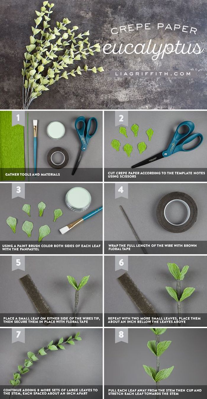 photo collage of step by step diy tutorial, how to make paper flowers easy, how to make eucalyptus out of crepe paper