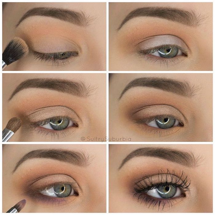 woman with green eyes, step by step diy tutorial, how to put on eyeshadow, nude eyeshadow colors, long black eyelashes