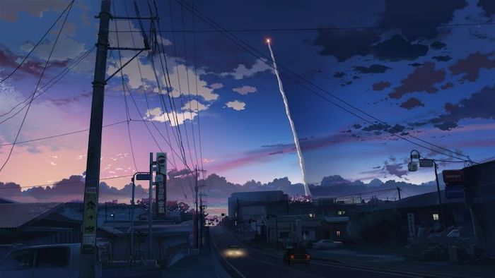 red aesthetic wallpaper, photo of a street, animated sky in purple and pink, electricity cables hanging above the street