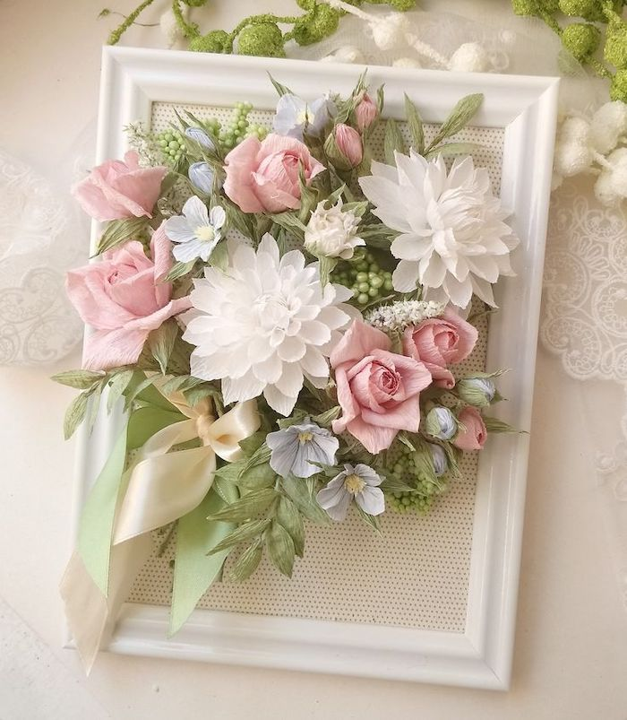 diy tissue paper flowers, white wooden frame, paper flowers arranged inside, placed on white surface