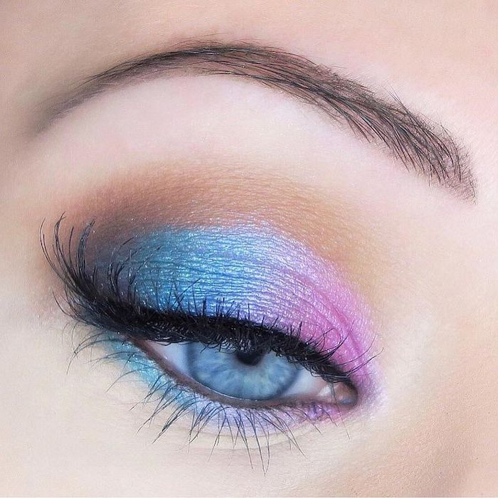 pink and blue eyeshadow colors, makeup for beginners, woman with blue eyes, slim dark eyebrows