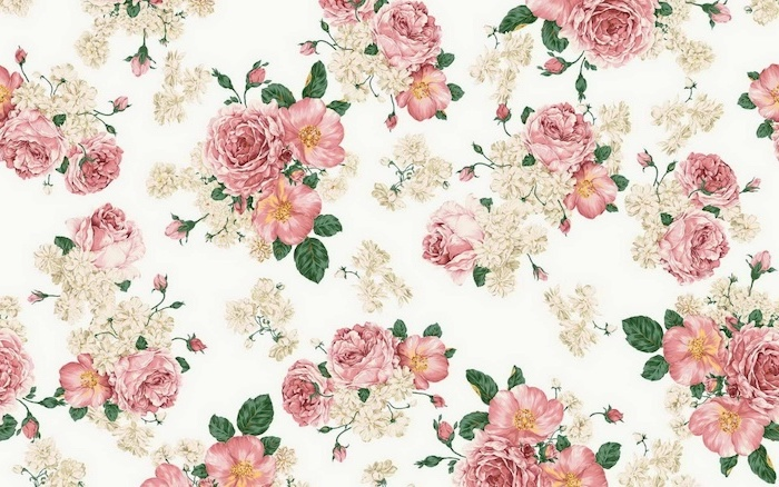 painting of pink and white peonies, roses and orchids, aesthetic phone backgrounds, white background