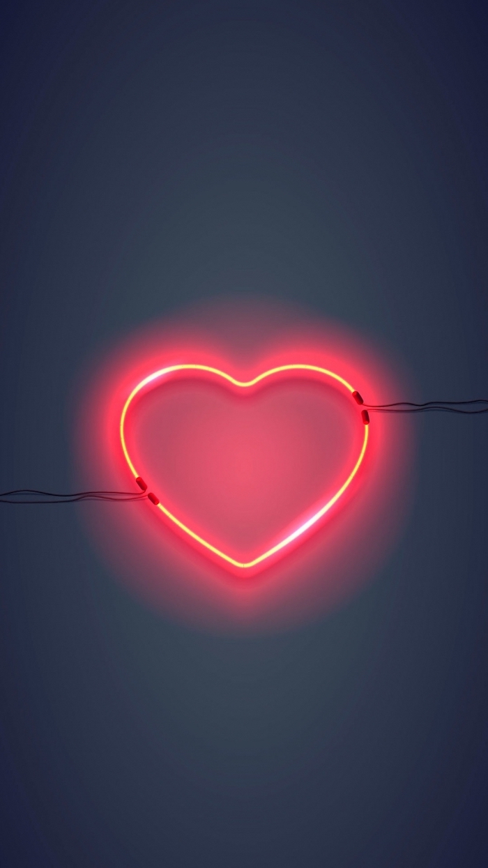 red heart shaped neon light, hanged on grey wall, pink aesthetic background, dark grey background