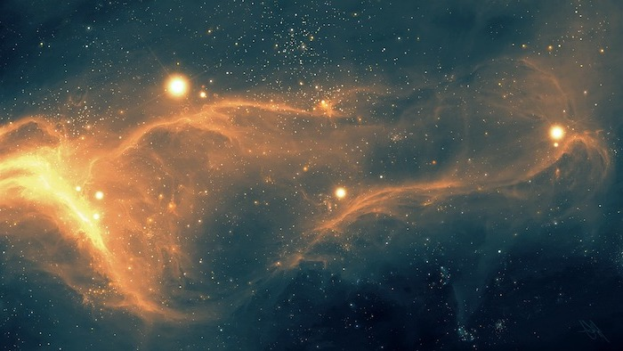 vintage aesthetic wallpaper, recreation of space, galaxies in yellow and orange, lots of stars, dark background