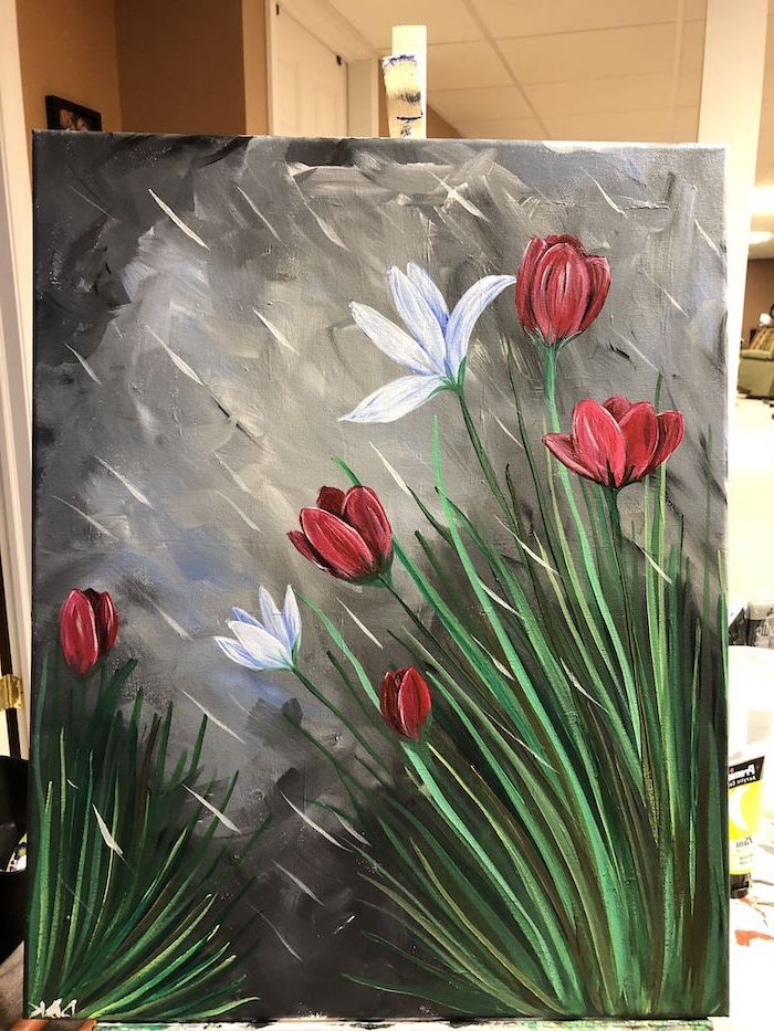 red and white blooming tulips, painted on dark grey background, rain drops falling on them, abstract painting ideas