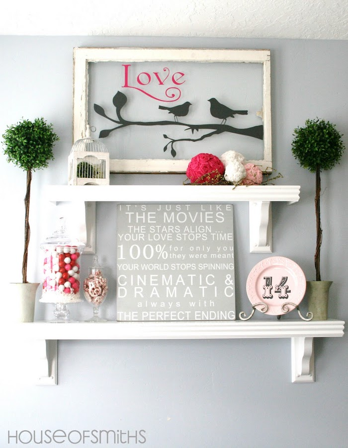 wooden board with love qotes, jar full of candy, arranged on white shelf, valentine's day home decor, love wooden poster